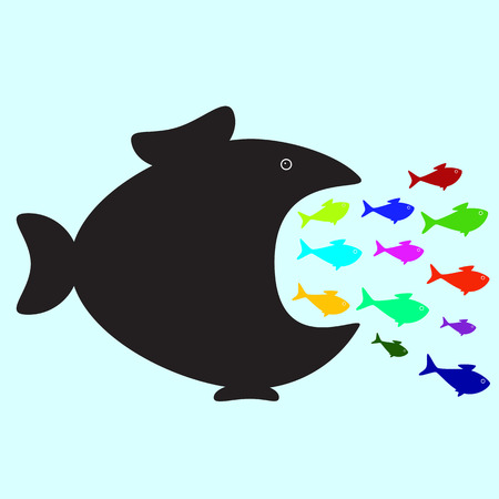 Big black fish swallowing plenty of colorful fish of different sizes and colors. Business or political concept of monopolistic company or union absorbed small companies. Career concept of careerist who does not consider interests of his colleagues