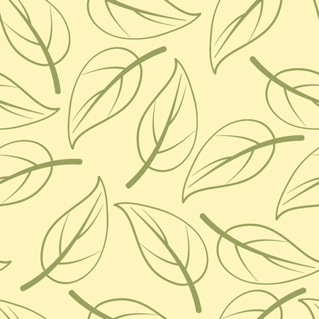 birchen: Seamless pattern with birch leaves with light green veinlets in flat style isolated on light yellow background