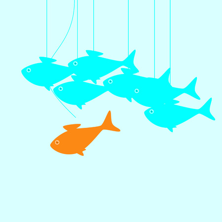 attain: Business concept illustration with goldfish moving its own way breaking common rules in the form of puppet thread that holds it and does not allow to achieve great aims and other fish moving as puppets on thread Illustration