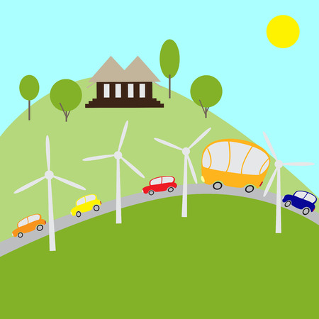 picturesque: Picturesque landscape with cozy semidetached house, beautiful green trees and bushes, fields, road with cars and bus and windmills