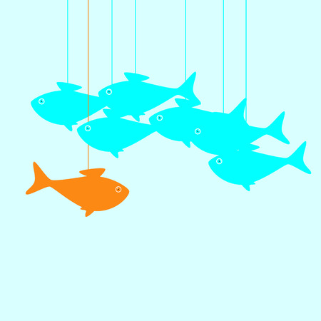 breaking the rules: Business concept illustration with goldfish moving against stream breaking common rules in the form of puppet thread that holds it and does not allow to achieve great aims and other fish moving as puppets on thread Illustration