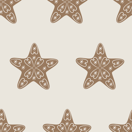 vignettes: Christmas seamless pattern with star cookie decorated with vignettes and snowflakes on beige background. Ideal for holiday wrapping paper, gift boxes and other packing elements