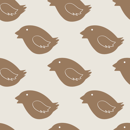christmas cookie: Christmas decorated bird cookie seamless pattern on beige background. Ideal for holiday wrapping paper, gift boxes and other packing elements Illustration