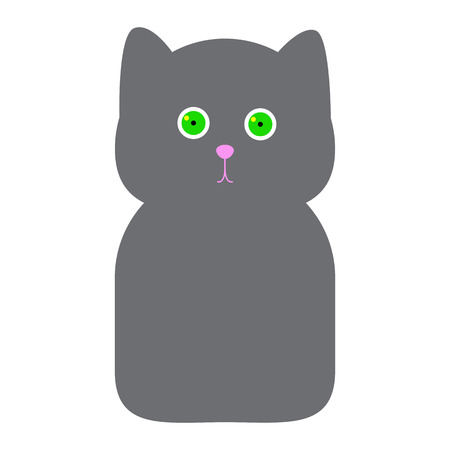 grey cat: Cute grey cat with big round green eyes and rosy nose on round head with small ears and oval body isolated on white background. Logo template, design element for postcard, invitation, label in flat style Illustration
