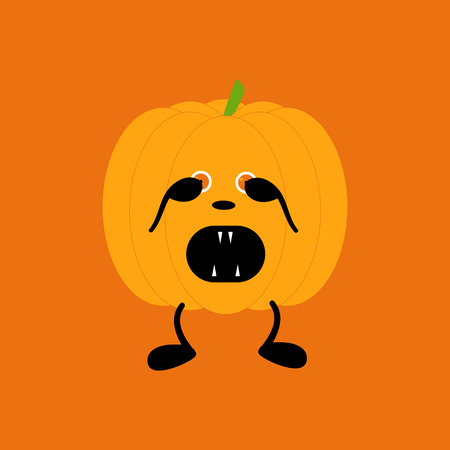 closed mouth: Orange pumpkin on two black legs with eyes full of fear partly closed by its hands, black nose crying with its mouth full of sharp teeth isolated on bright orange background. Нalloween decoration vector element