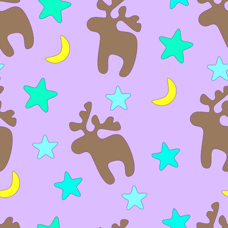 childlike: Merry Christmas childlike seamless pattern with blue stars, yellow moon and beige reindeer on violet background. For holiday decoration, wrapping paper, wallpaper, gift boxes, other packing elements