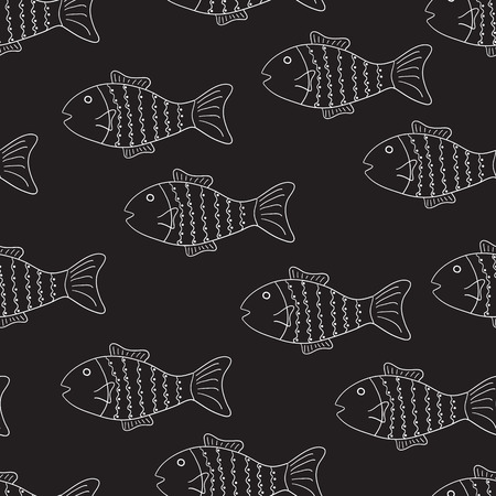 Seamless pattern in chalkboard style with white patterned fish on black background. For menu decoration, wrapping paper, wallpaper, gift boxes, other packing elements  イラスト・ベクター素材
