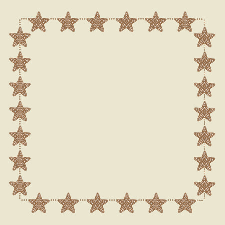 gingery: Christmas border with stars decorated with vignettes and snowflakes on beige background. Decoration element for greeting card, postcard, invitation Illustration