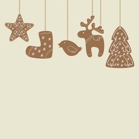 snowflacke: Christmas ginger cookies of different shapes decorated with beautiful vignettes hanging on stylized chains on beige background. Invitation, greeting card, menu decoration