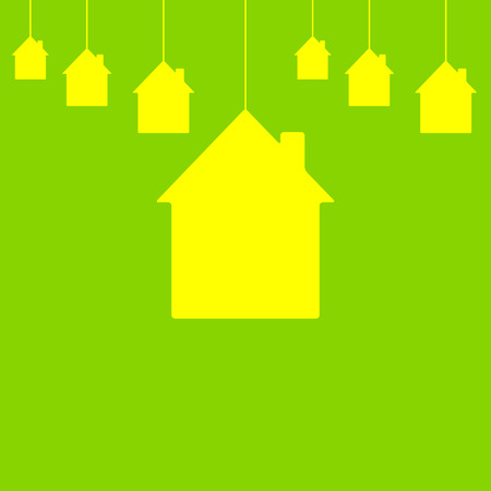 Lemon colored houses hanging on bright green background. New house concept Vector