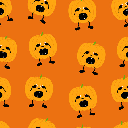 31th: Seamless pattern with orange pumpkin on two black legs with eyes full of fear partly closed by its hands, black nose crying with its mouth full of sharp teeth isolated on bright orange background. For holiday decoration, wrapping paper, wallpaper, gift bo