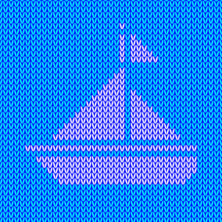 blue background: Knitted white yacht with sails and flag on celadon knitted background. Vector illustration
