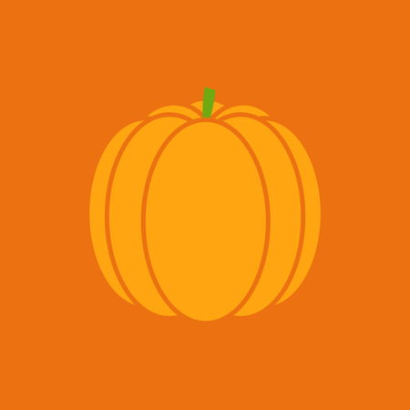 Stylized orange pumpkin on bright orange background.  template. Decoration element. Vector illustration Vector