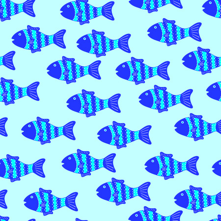 celadon: Seamless pattern with cute colorful patterned fish on light blue background