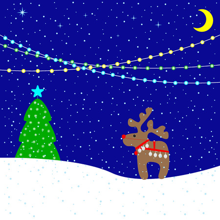 harness: Christmas card with moonlight snowy evening, holiday lights, cute beige reindeer wearing red nose, Christmas bells and harness, fir-tree decorated with Christmas star and beautiful snowflakes. For invitation, postcard, packing decoration Illustration