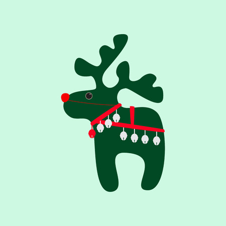 harness: Christmas card with cute green reindeer wearing red nose, Christmas bells and harness. Element for invitation, postcard, packing decoration Illustration