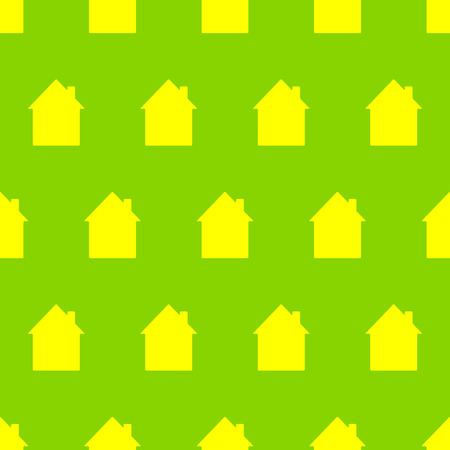 settle: Seamless pattern with yellow houses on bright green background. For holiday decoration, textile, wrapping paper, wallpaper, gift boxes, other packing elements Illustration