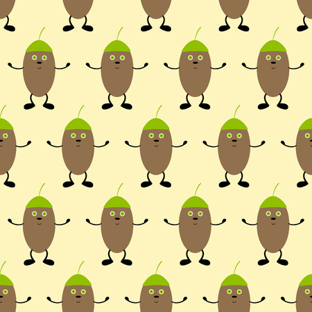 smooch: Seamless background with cute cartoon hugging acorns in green hats with green eyes and black noses, black legs and hands on yellow background. For holiday decoration, textile, wrapping paper, wallpaper, gift boxes, other packing elements Illustration