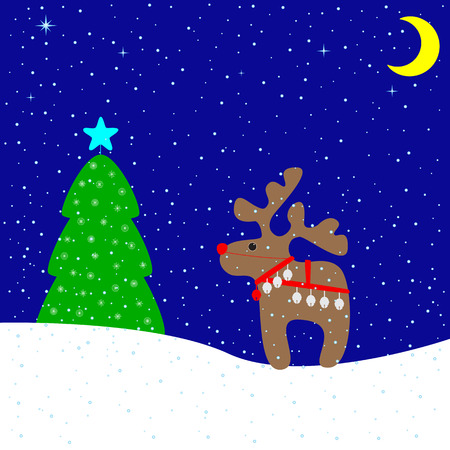 firtree: Christmas card with cute beige reindeer wearing red nose, Christmas bells and harness, fir-tree decorated with Christmas star and beautiful snowflakes, snowdrifts, snowfall, stars and moon. For invitation, postcard, packing decoration