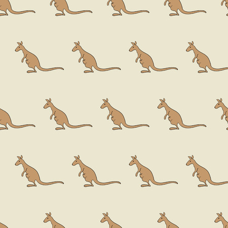Seamless pattern with kangaroos isolated on beige background. For holiday decoration, textile, wrapping paper, wallpaper, gift boxes, other packing elements Vector