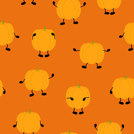 31th: Seamless Halloween pattern with orange pumpkins with black hands and legs on orange background. Ideal for holiday decoration, wrapping paper, wallpaper, gift boxes, other packing elements Illustration