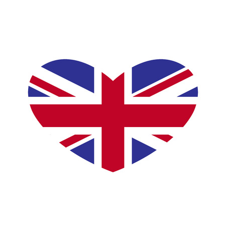 Flag of Great Britain in the shape of heart isolated on white background. Illustration