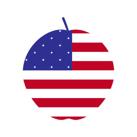 big apple: American flag in the shape of big apple, the symbol of New York City. Design element