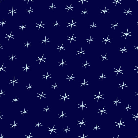 Abstract seamless background with stylized stars or snowflakes, falling in dark blue sky