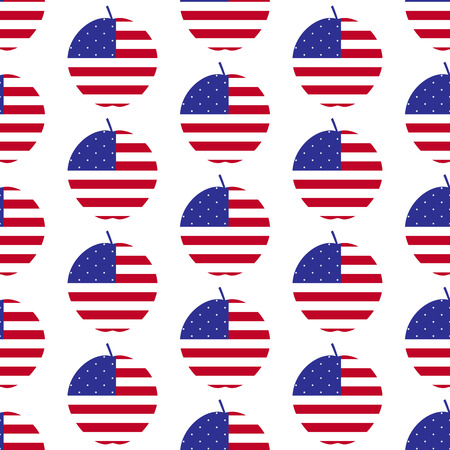 big apple: Seamless background with American flag in the shape of big apple, the symbol of New York City. For wallpaper, wrapping paper, textile decoration Illustration