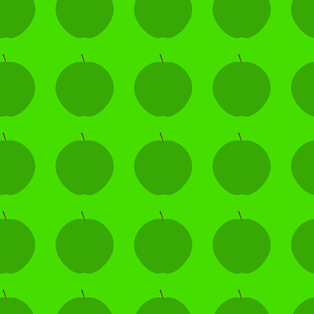 green apple isolated: Seamless background with ripe juicy green apple isolated on bright green background. For wallpaper, wrapping paper, textile decoration Illustration