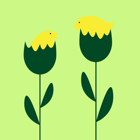 eggshells: Easter background with two cute yellow chickens sitting in eggshells which are growing as plants