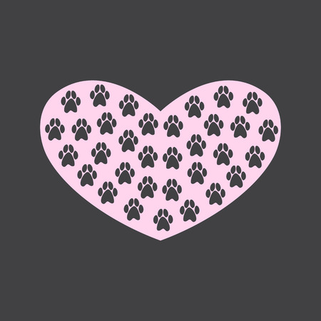 it is isolated: Awesome pink heart with grey paw prints on it isolated on dark grey background. For invitations, greeting cards, postcards