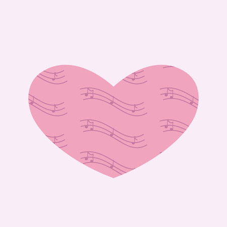 february 1: Heart with notes isolated on light pink background. For invitations, greeting cards, postcards