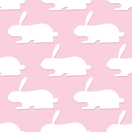 neonatal: Seamless pattern with white bunnies with dark pink shadows lying one after another isolated on light pink background. For wallpaper, wrapping paper, textile decoration, invitations, greeting cards, postcards Illustration