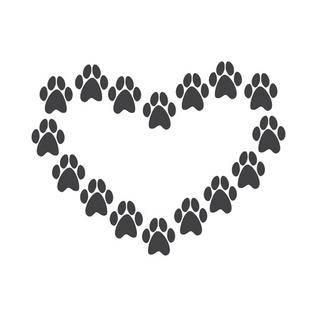 Paw prints in the shape of heart isolated on white background. For invitations, greeting cards, postcards