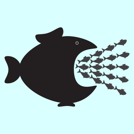 Big black fish swallowing plenty of smallest ones. Business or political concept of monopolistic company or union absorbed small companies. Career concept of careerist who does not consider interests of his colleagues