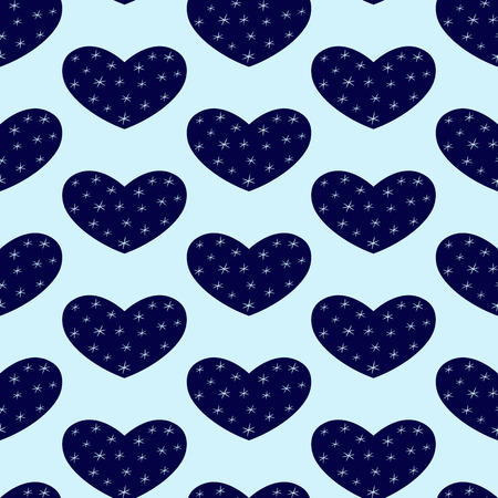 phantasy: Seamless pattern with repeating dark blue hearts decorated with stylized snowflakes isolated on light blue background