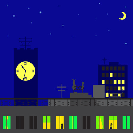 Cat and dog sitting on roof of big house of big city looking on stars and moon Vector