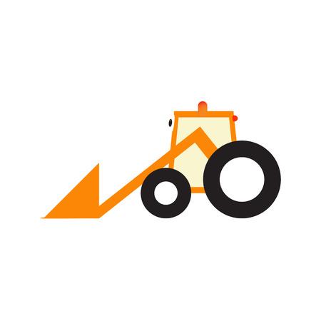 Orange cartoon tractor with big eyes black tires
