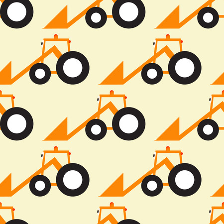 big eyes: Seamless pattern with orange cartoon tractor with big eyes black tires isolated on light yellow background Illustration