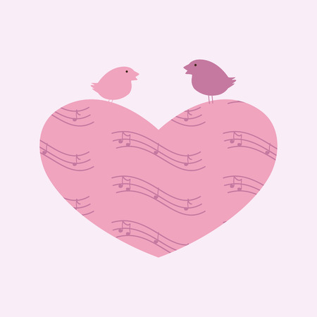 it is isolated: Heart with notes and birds sitting on it isolated on light pink background