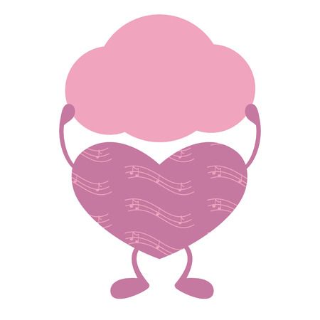 staying: Pink heart staying on legs and holding speech bubble in its hands decorated with notes isolated on light pink background