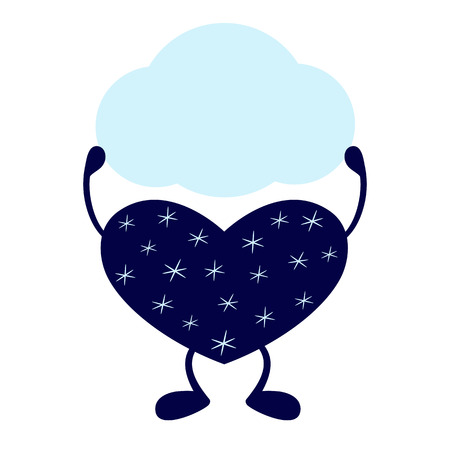 stargazing: Dark blue heart on legs decorated with stylized snowflakes holding speech bubble in its hands isolated on white background