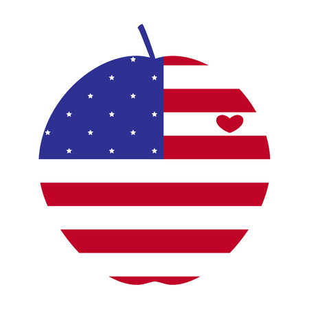 big apple: American flag in the shape of big apple with heart, the symbol of New York City Illustration