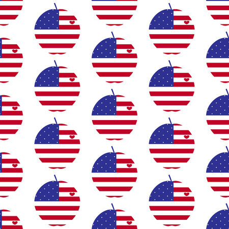big apple: Seamless background with American flag in the shape of big apple with heart, the symbol of New York City Illustration
