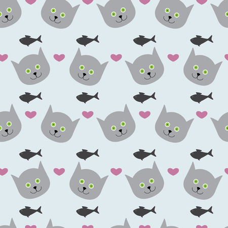 rosy: Adorable seamless pattern with light grey cat`s round head with big round green eyes, black nose and sharp ears, rosy hearts and grey fishes isolated on light grey background Illustration