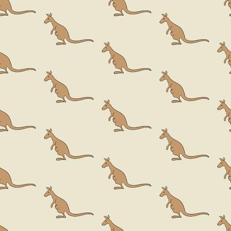beige stof: Naadloze achtergrond met kangoeroes die op beige