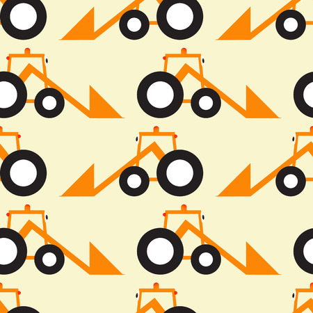 headlamp: Seamless pattern with orange cartoon tractors with big eyes black tires situated opposite one another isolated on light yellow background