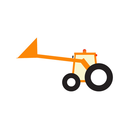 snow tire: Orange cartoon tractor with big eyes black tires and upped scoop Illustration