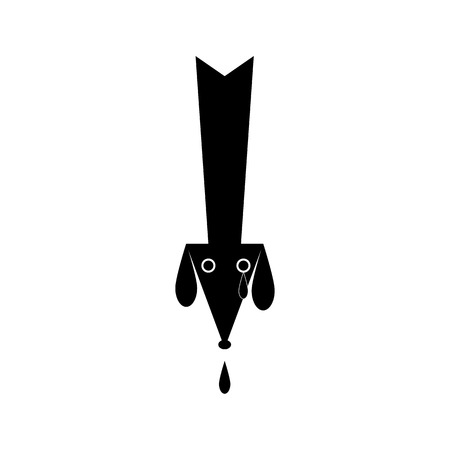 drop down: Black colored dog`s head in the shape of down arrow with two eyes and one tear, two ears and big black drop drips from its nose isolated on white background